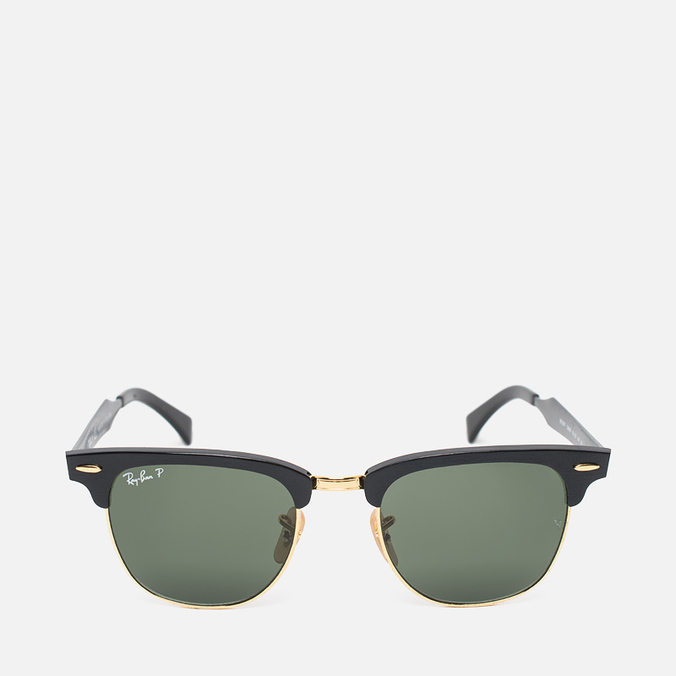 Ray-Ban Clubmaster Aluminum Polarized Sunglasses Green/Black