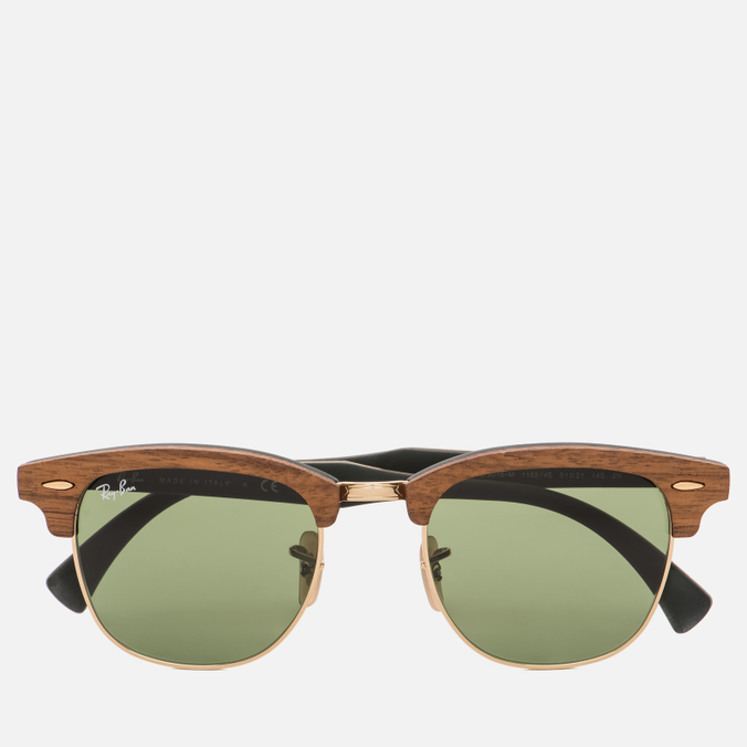 Солнцезащитные очки Ray-Ban Clubmaster Wood Green/Brown