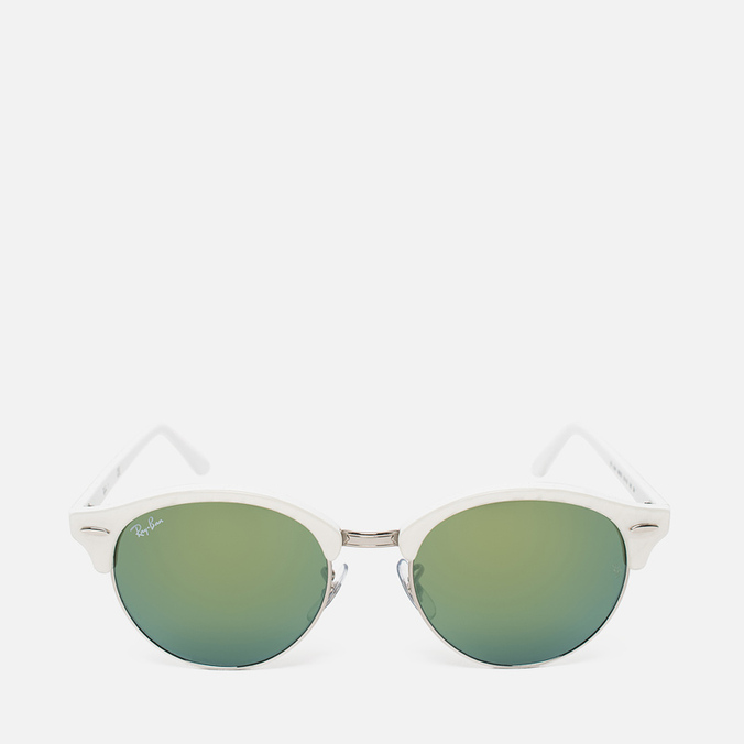 Ray-Ban Clubround Green Mirror Sunglasses White/Silver