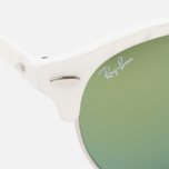 Ray-Ban Clubround Green Mirror Sunglasses White/Silver photo- 2