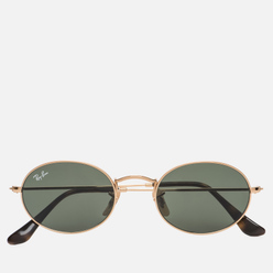 Солнцезащитные очки Ray-Ban Oval Flat Lenses Polished Gold/Green Classic G-15