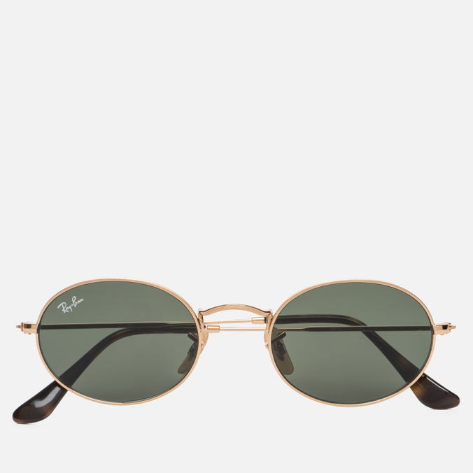 Солнцезащитные очки Ray-Ban Round Oval Flat Lenses Gold/Green Classic G-15