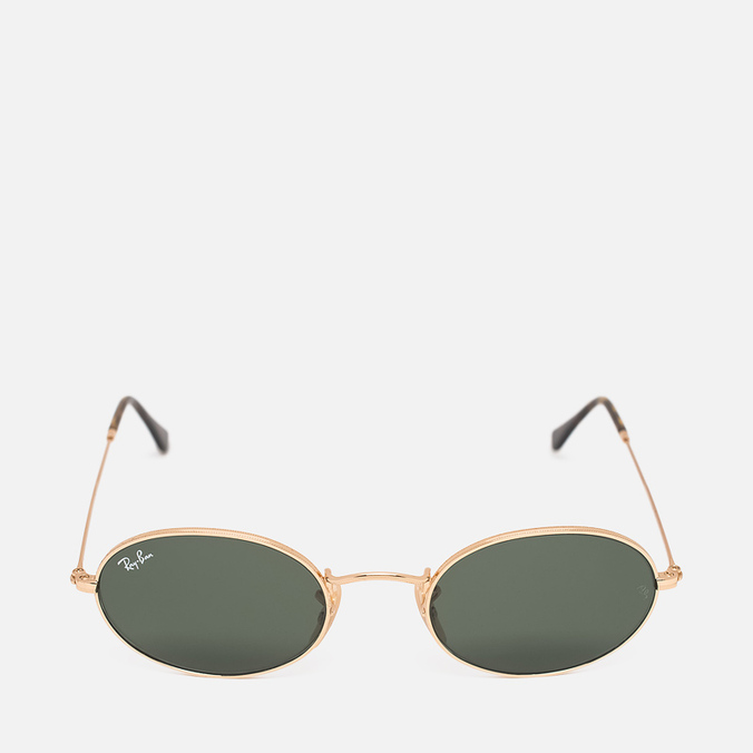 Ray-Ban Round Oval Flat Lenses Sunglasses Gold/Green Classic G-15