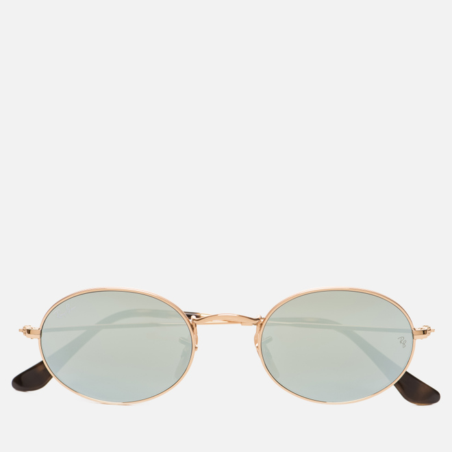 Солнцезащитные очки Ray-Ban Round Oval Flat Lenses Gold/Silver Flash