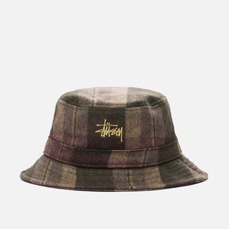 Панама Stussy Plaid Bucket Olive