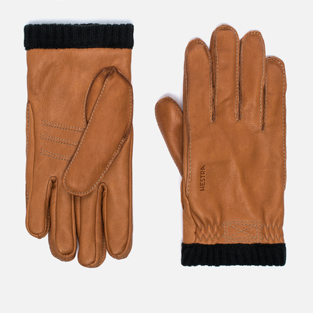 Hestra Deerskin Primaloft Ribbed Men's Gloves Brown