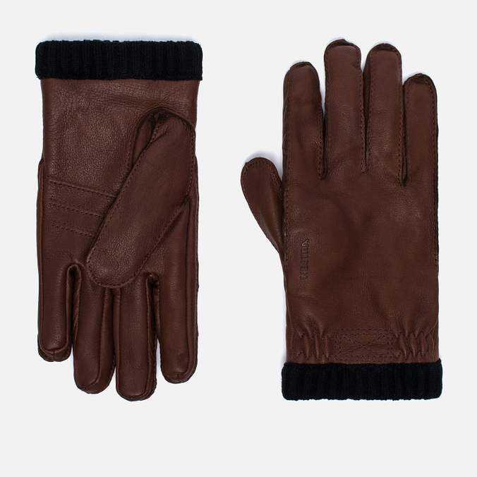 Мужские перчатки Hestra Deerskin Primaloft Ribbed Brown