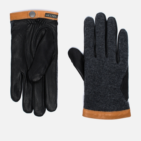 Hestra Deerskin Wool Tricot Gloves Grey