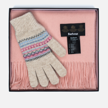 Подарочный набор Barbour Lambswool Scarf And Glove Pink