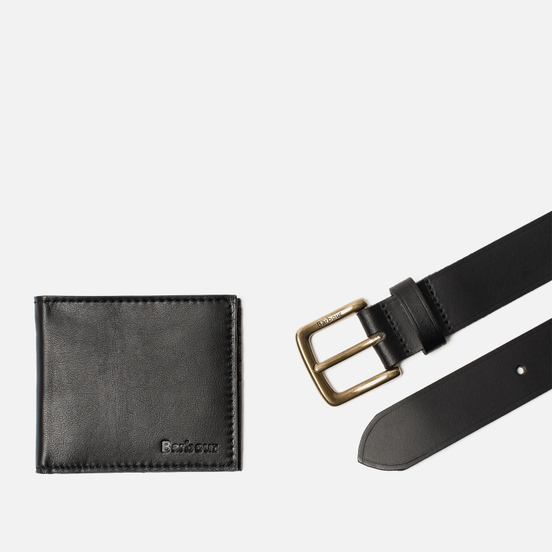 Подарочный набор Barbour Leather Belt/Wallet Black