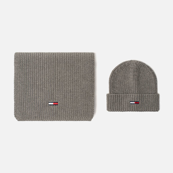 Подарочный набор Tommy Jeans Basic Scarf   Beanie GP Light Grey Heather ... 9386ee563259