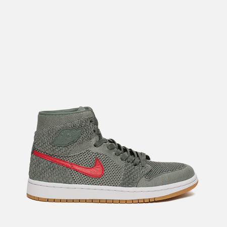 Подростковые кроссовки Jordan Air Jordan 1 Retro High Flyknit GS Clay Green/White/Hyper Cobalt/Gum Yellow