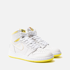 Подростковые кроссовки Jordan Air Jordan 1 Retro High OG GS White/Dynamic Yellow/Black/Gym Red