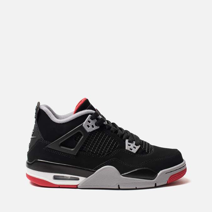 8840b6367b6 Подростковые кроссовки Jordan Air Jordan 4 Retro GS Black Fire Red Cement  Grey  ...