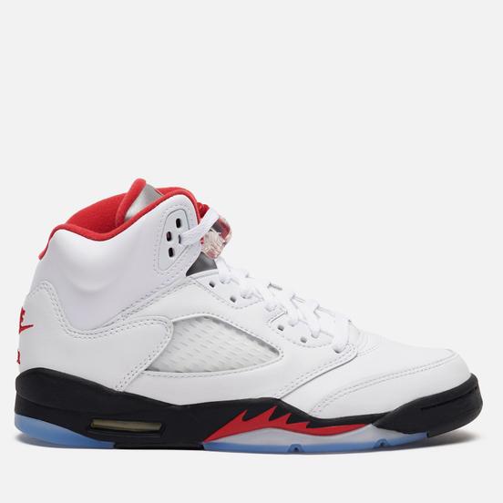 Подростковые кроссовки Jordan Air Jordan 5 Retro GS True White/Fire Red/Black