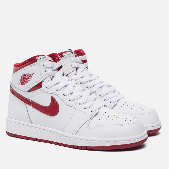 Подростковые кроссовки Jordan Air Jordan 1 Retro High OG BG White/Metallic Red/White