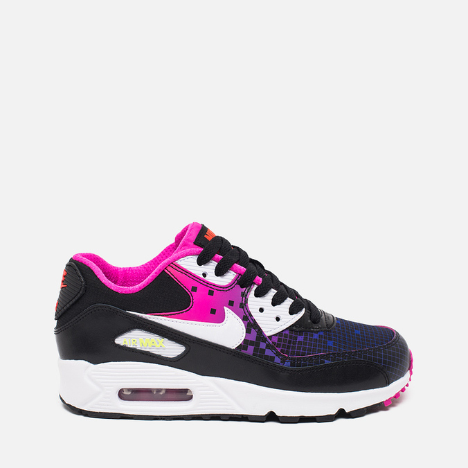 Подростковые кроссовки Nike Air Max 90 Mesh GS Black/White/Volt/Bright Crimson