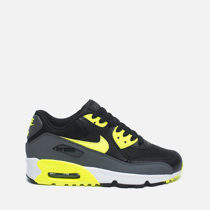 Подростковые кроссовки Nike Air Max 90 Mesh GS Grey/Black/Yellow/White
