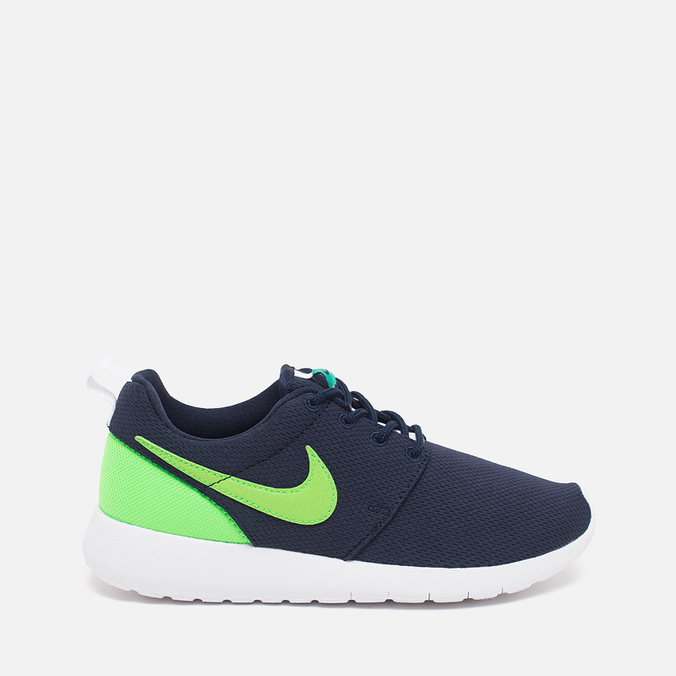 Подростковые кроссовки Nike Roshe One GS Obsidian/White/Voltage Green
