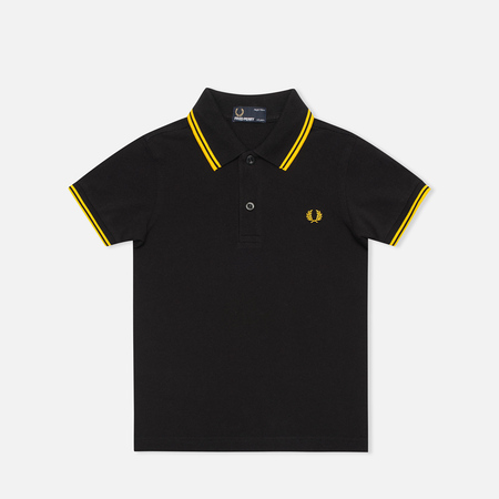 Fred Perry Twin Tipped Children's Polo Black/New Yellow
