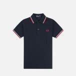 Детское поло Fred Perry Twin Tipped Navy/White фото- 0