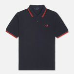 Мужское поло Fred Perry Laurel M12 Twin Tipped Navy/Red фото- 0