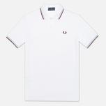 Мужское поло Fred Perry Laurel M12 White/Ice/Maroon фото- 0