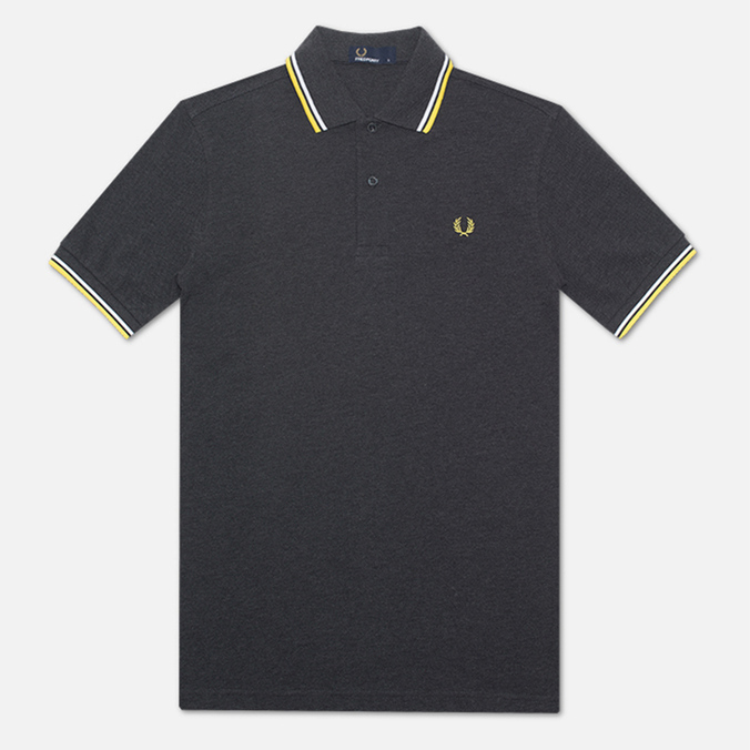 Мужское поло Fred Perry M1200 Twin Tipped Charcoal Marl