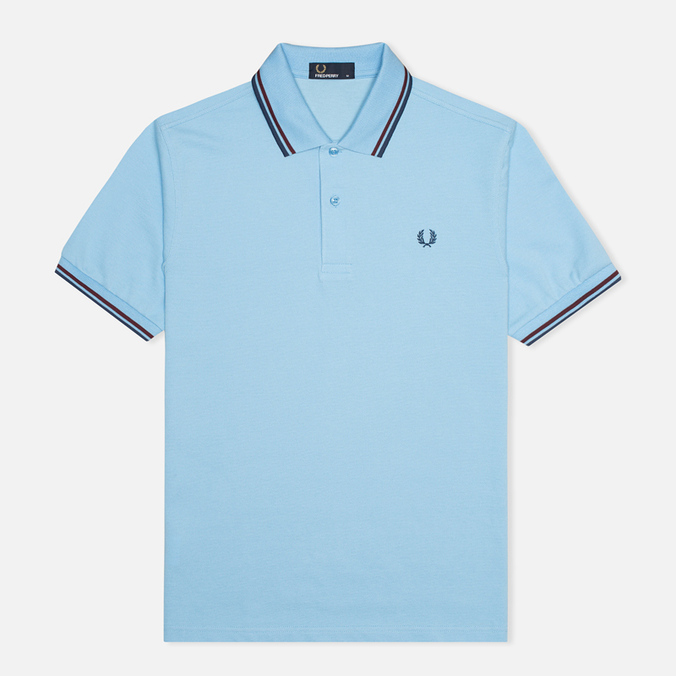 Мужское поло Fred Perry M1200 Twin Tipped Sky Blue/Port/Indigo