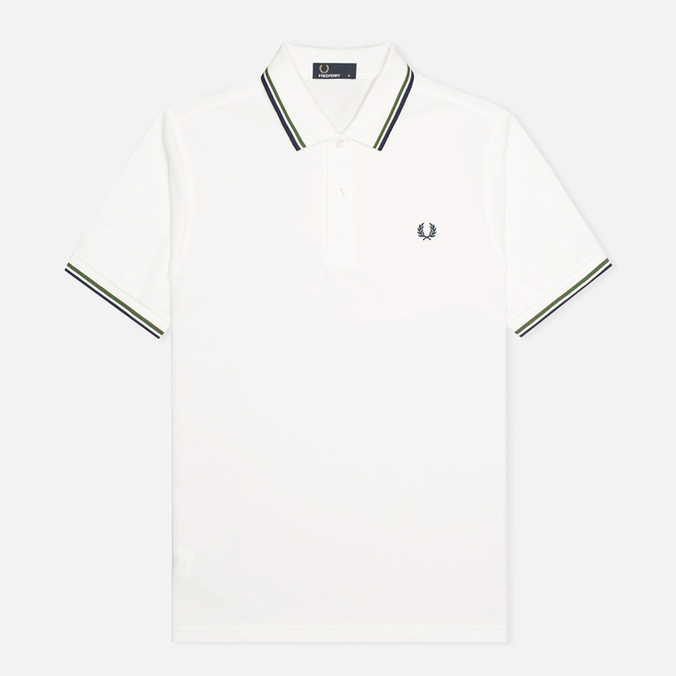 Мужское поло Fred Perry M1200 Twin Tipped Snow White/Verde/Navy