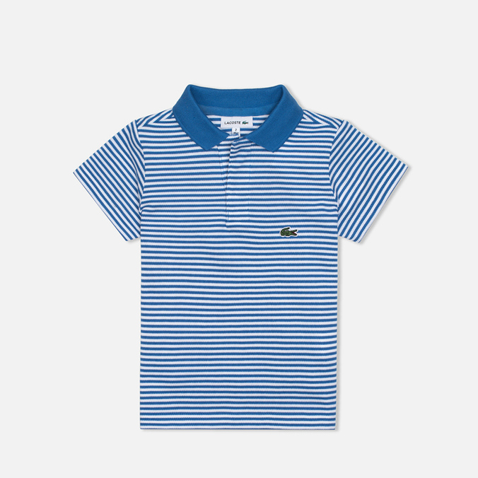 Детское поло Lacoste Pique Wave Blue/White