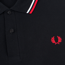 Мужское поло Fred Perry M12 Black/White/Bright Red фото- 2