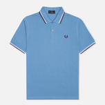 Мужское поло Fred Perry M12 Mid Blue/White/Maroon фото- 0