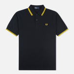 Мужское поло Fred Perry M1200 Twin Tipped Black/New Yellow фото- 0