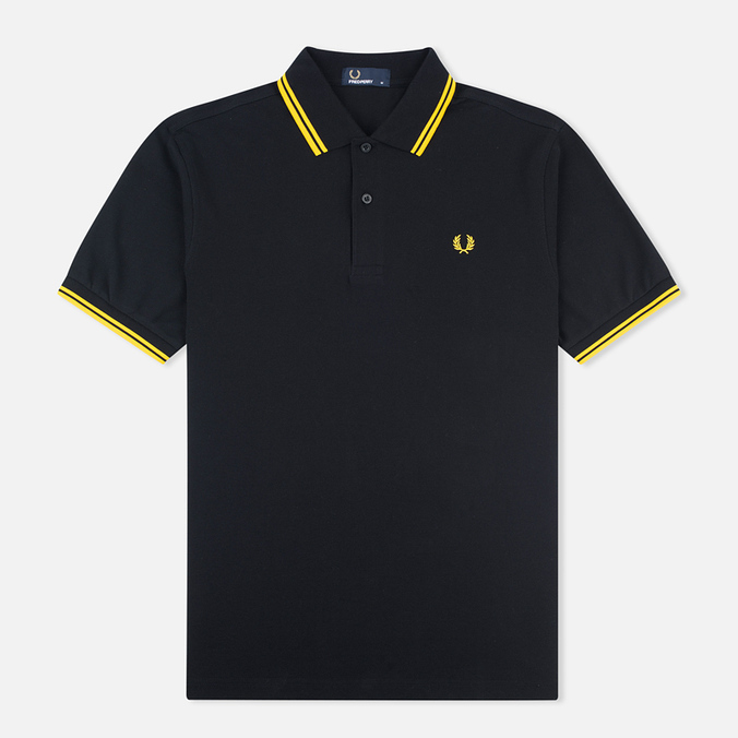 Мужское поло Fred Perry M1200 Twin Tipped Black/New Yellow