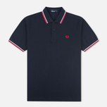 Мужское поло Fred Perry M1200 Twin Tipped Navy/White/Red фото- 0