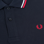 Мужское поло Fred Perry M1200 Twin Tipped Navy/White/Red фото- 2