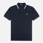 Мужское поло Fred Perry M1200 Twin Tipped Navy/White/White фото- 0