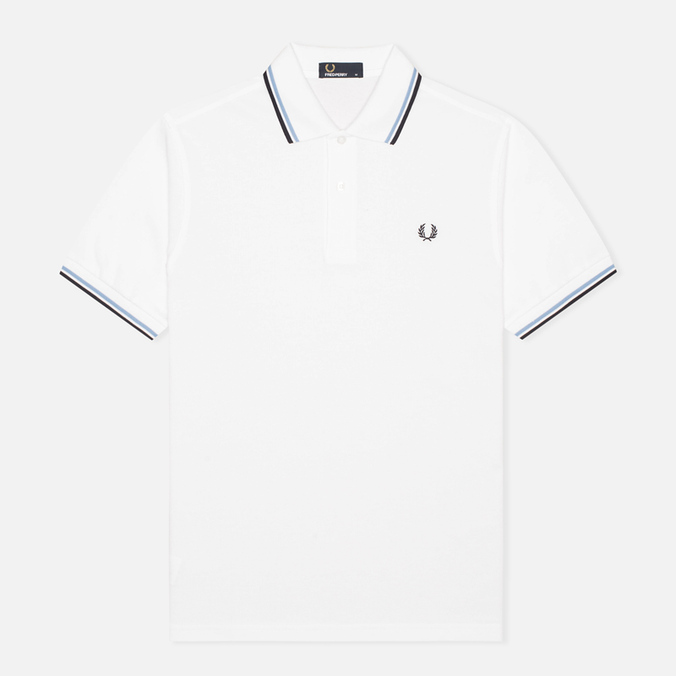 Мужское поло Fred Perry M1200 Twin Tipped White/Ice/Navy