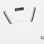 Мужское поло Fred Perry M1200 Twin Tipped White/Ice/Navy фото- 1