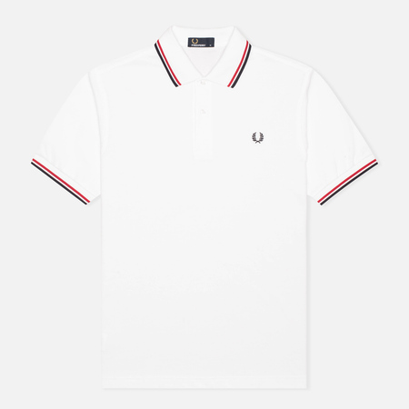 Fred Perry M1200 Twin Tipped Men's Polo White/Red/Navy
