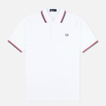 Мужское поло Fred Perry M1200 Twin Tipped White/Red/Navy фото- 0