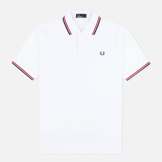 Мужское поло Fred Perry M1200 Twin Tipped White/Red/Navy
