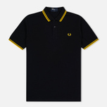 Мужское поло Fred Perry M3600 Twin Tipped Black/New Yellow фото- 0