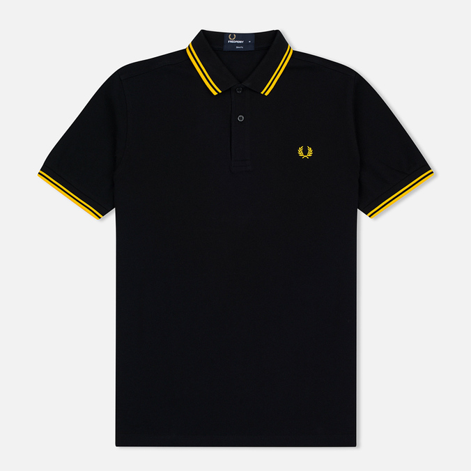 Мужское поло Fred Perry M3600 Twin Tipped Black/New Yellow