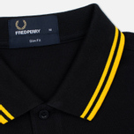 Мужское поло Fred Perry M3600 Twin Tipped Black/New Yellow фото- 2