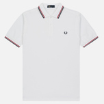 Мужское поло Fred Perry M3600 Twin Tipped White/Bright Red/Navy фото- 0