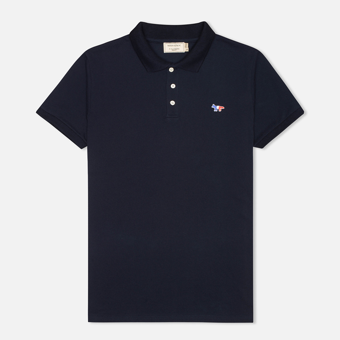 Мужское поло Maison Kitsune Tricolor Patch Navy