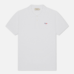 Мужское поло Maison Kitsune Tricolor Fox Patch White
