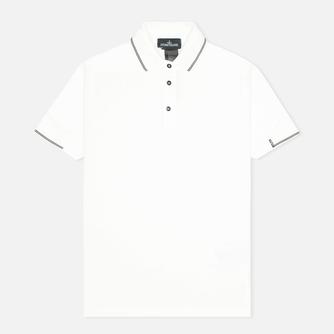 Мужское поло Stone Island Shadow Project Piquet Co-M White